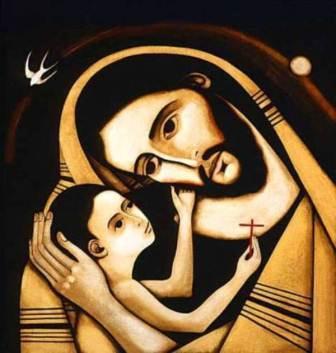 Ікона - Святий Йосиф тримає на руках Ісуса